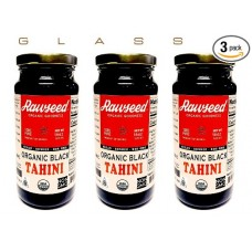 Rawseed Organic Black Tahini 3 Pack of 16 oz Glass Bottles