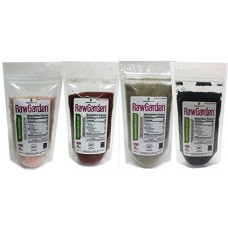 Raw Garden 4 Pack 8 oz Hawaiian Black,Red,Green &, Himalayan Pink Fine Salt Gourmet Variety