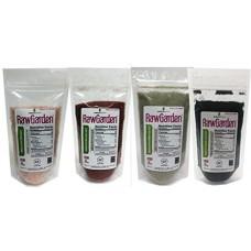 Raw Garden 4 Pack 8 oz Hawaiian Black,Red,Green &, Himalayan Pink Fine Salt Gourmet Variety