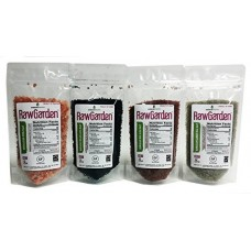 Raw Garden 4 Pack (8 oz Each) Hawaiian Black Lava, Red Alea, Green Bamboo, & Himalayan Pink Coarse Salt Gourmet Variety