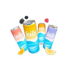 LEILO SPARKLING RELAX, CALM DRINK SUPPLEMENT 12 OZ ,12 PACK 3 CANS OF EACH FLAVOR