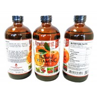 RawHarvest Natural Liquid Vitamin c 16 oz 3 pack Glass Bottle