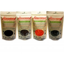 Rawseed Organic Certified Lentils, Black,Orange,Brown,French Total 8 Lbs 4 Pack 2 lb, 1 of Each One